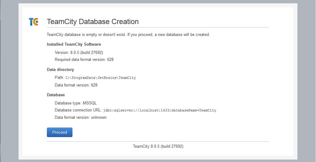 TeamCity Create Database
