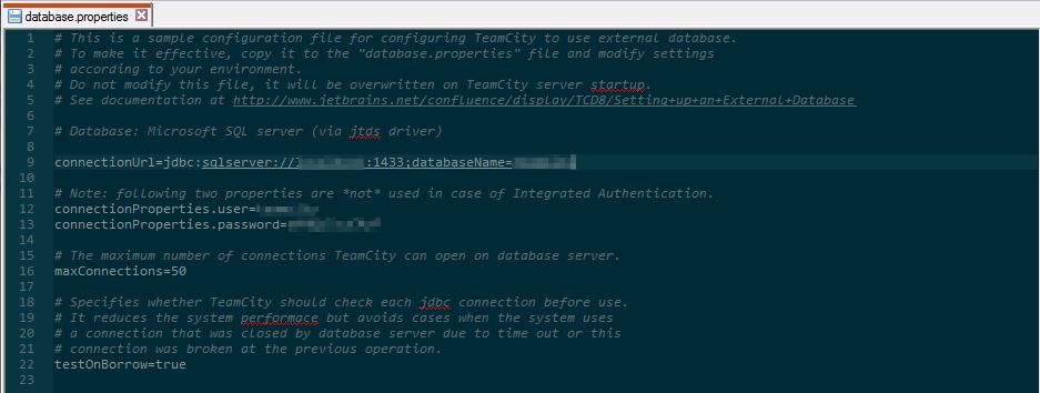 TeamCity Database Properties File