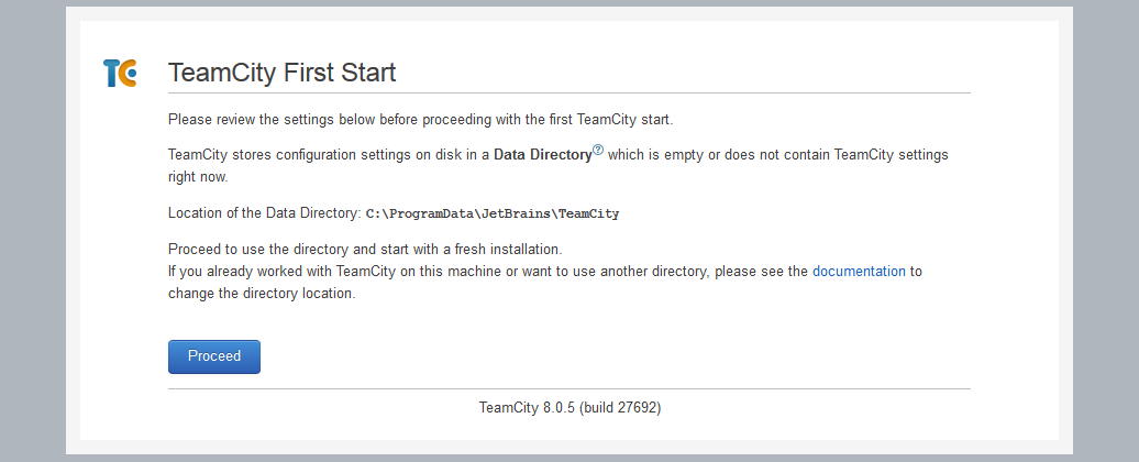 TeamCity First Install